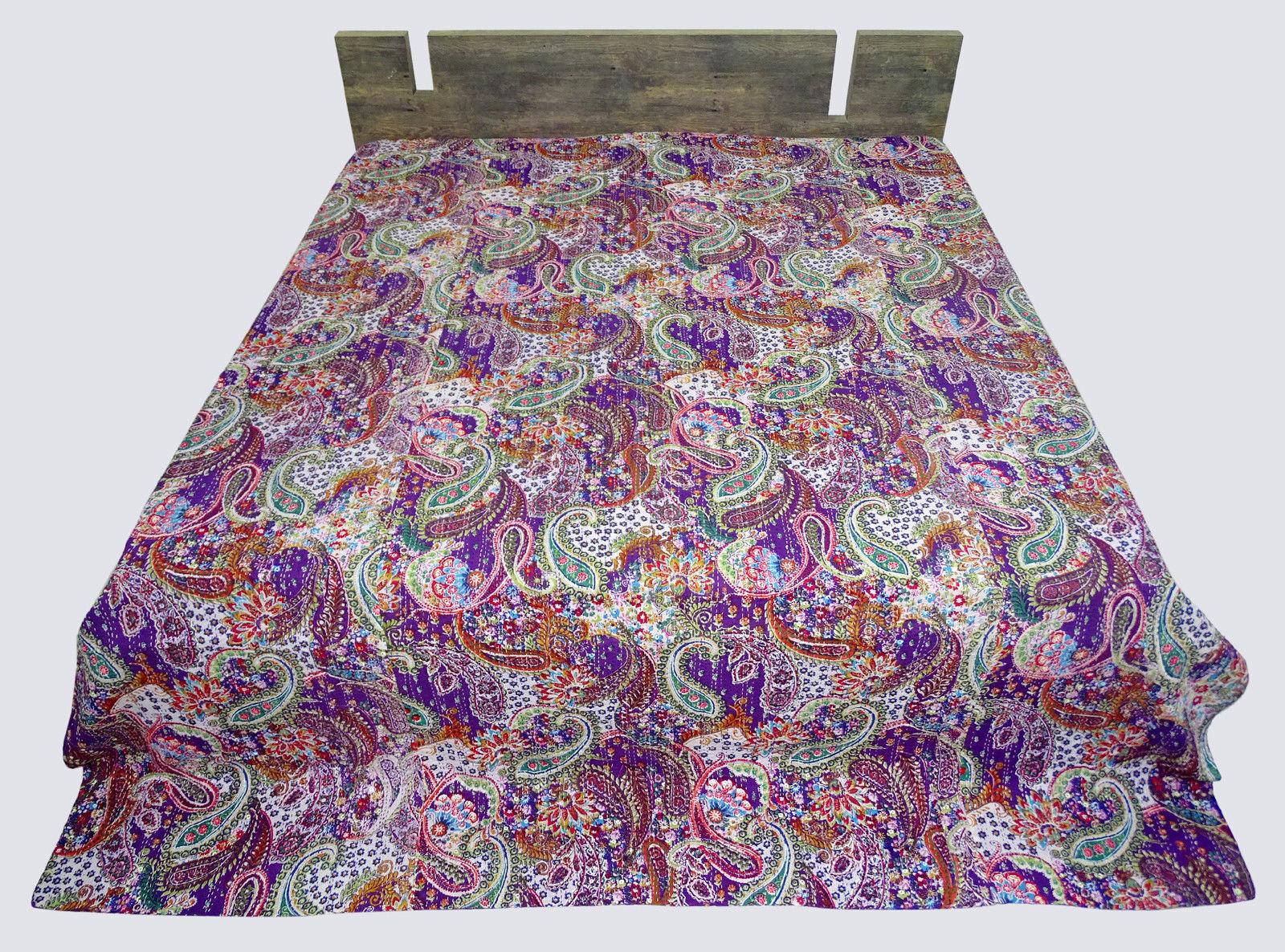 Sanganeri Screen Printed Purple 100% cotton Kantha Twin Size Quilt 6090 measure