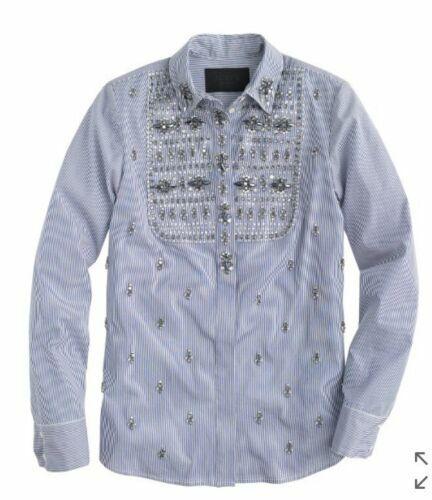 NWT J.CREW Collection Jeweled Bib Striped Shirt Top Größe 00 Blau