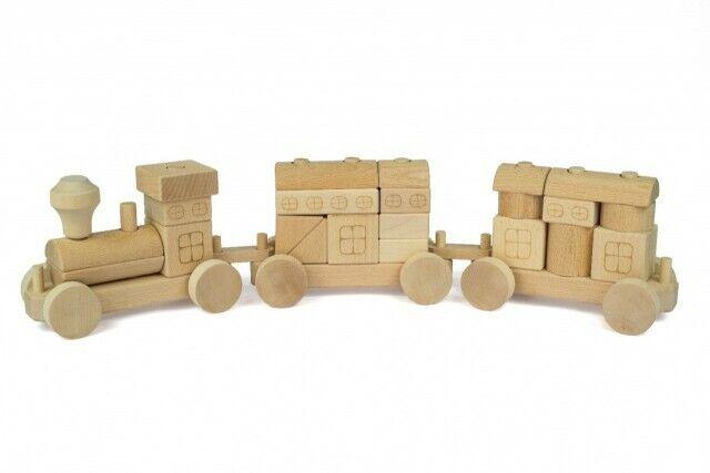 Holzzug Holzbausteine Natur Kinderspielzeug aus Holz Fahrzeug Konstrukteurspiel  | New Listing