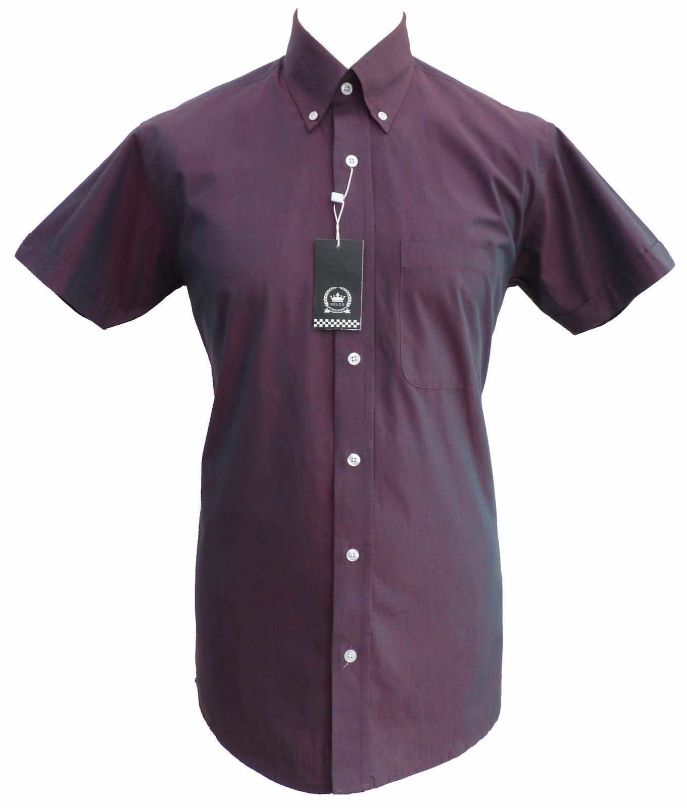 Relco Mens Burgundy TONIC Short Sleeve Shirt Two Tone NEW Mod Skin Vintage Retro    | Eleganter Stil