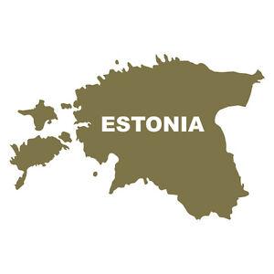 Gold-Metallic-Estonia-Eesti-shape-Car-Bumper-Souvenir-Decal-Sticker-with-writing