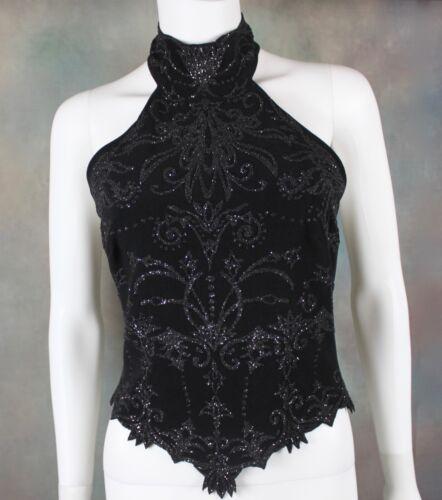 Vintage Cache Women's Halter Top Size XS Beaded Bl