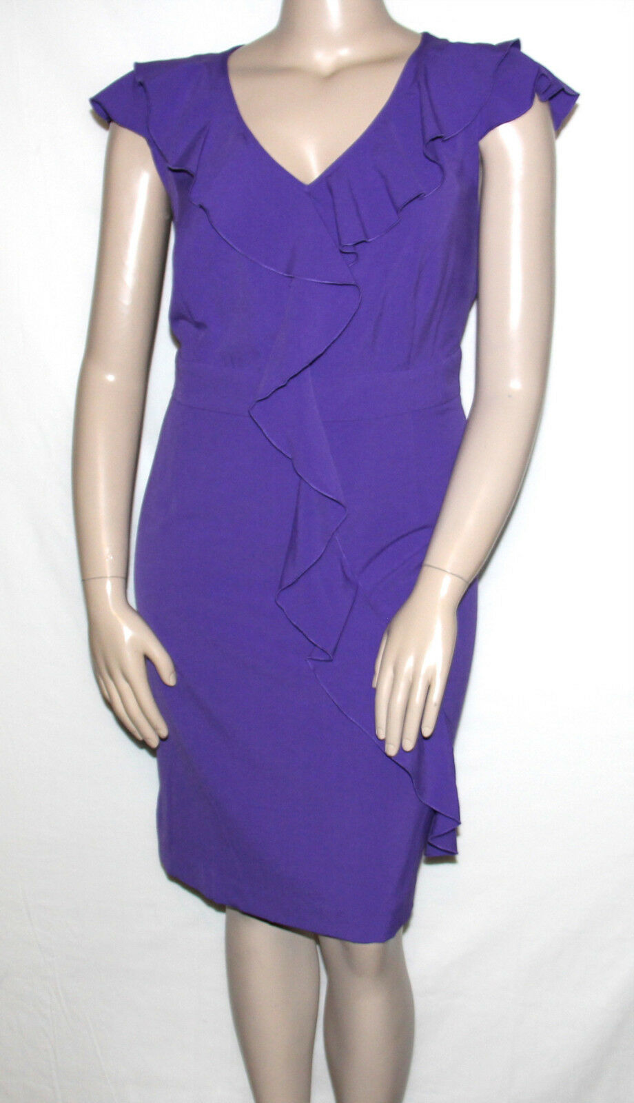 NEW Spense Woman Plus 20W Cap Sleeve Ruffled Banded Waist Dress SNAPDRAGON