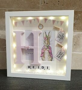 Details About Personalised Light Up Baby Box Frame Picture Birthday Christening Gift