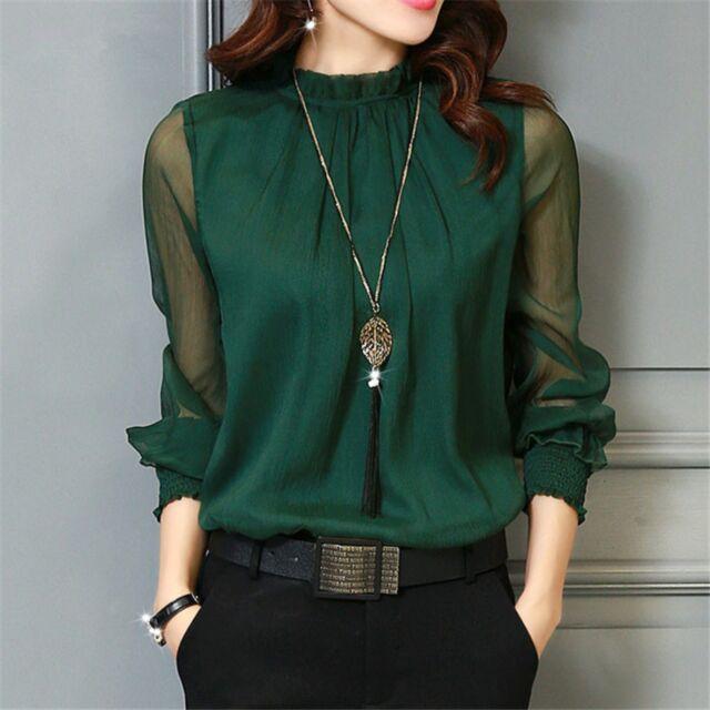 Chiffon Blouse 2018 Women Tops Long Sleeve Stand Neck Work Wear Shirts Elegant