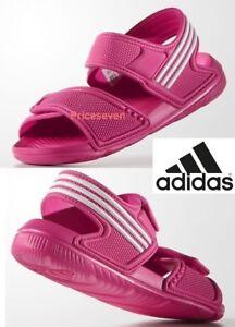 c6b252fc2e50f3 adidas Akwah 9 Girls Kids Pink Flip Flop Sandals Beach Shoes
