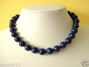 Blue-Lapis-Lazuli-Necklace-12mm-Lapis-Beads-Hand-Knotted-Various-Lengths-12-mm