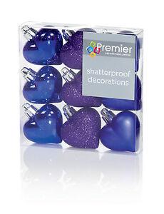 9-X-Violet-en-Forme-de-C-ur-Sapin-Noel-Boule-Decorations-Paillete-Mat-amp-Brillant