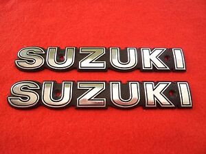 Suzuki Badge Emblem Fuel Gas Tank Decal Badge Silver Pair Uk Stock Ebay