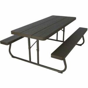 Pleasant Lifetime 60105 Commercial Grade 6 Picnic Table Faux Wood Color Seats 8 Machost Co Dining Chair Design Ideas Machostcouk