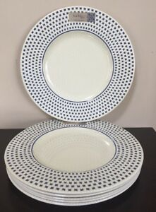 Image is loading New-NICOLE-MILLER-Blue-And-Cream-Lattice-Set- & New NICOLE MILLER Blue And Cream Lattice Set Of 6 Dinner Plates ...
