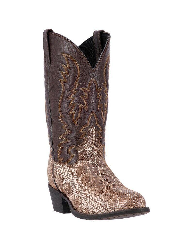 Laredo Burton 68073 Brown Snake Print Western Cowboy Boots Mens Size 10.5D