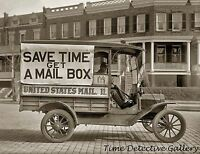 """""""Save Time Get a Mailbox"""" Postal Delivery Truck - Historic Photo Print"""