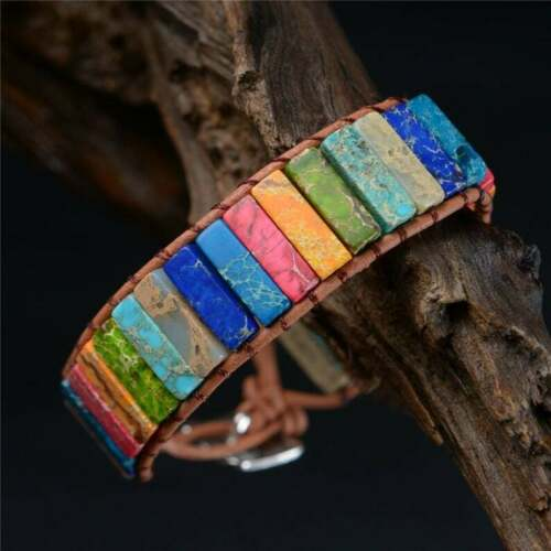 Bracelet des 7 Chakras en pierres semi-précieuses naturelles de jaspe et cuir