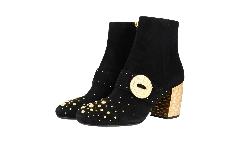 Auténtico de lujo Prada Half-Zapatos Bota De Gamuza Negra 1T819H US 10.5 Reino Unido 7.5