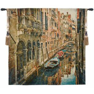 Venice Italy Canal Gondola Boats Scene European Woven Tapestry Wall Hanging Ebay