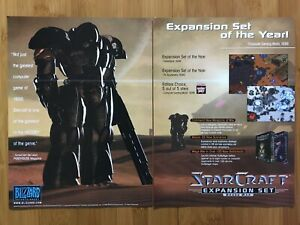 StarCraft-Brood-War-PC-1998-Vintage-Print-Ad-Poster-Official-Big-Box-Promo-Rare
