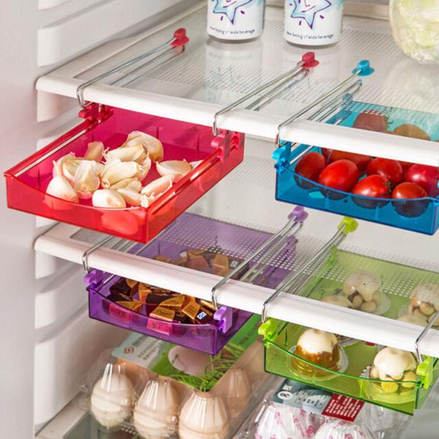 Slide Kitchen Fridge Space Freezer Organizer Saver Storage Rack Shelf Holder