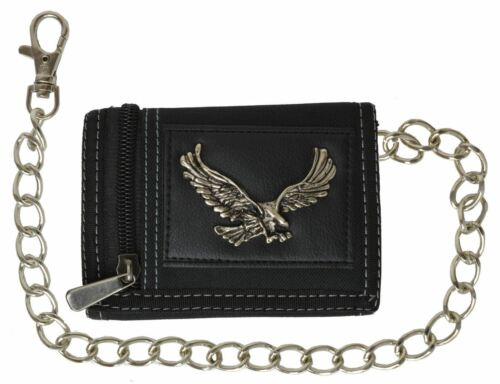 Men/'s Tri-fold Wallet With Chain Motorcycle Trucker Biker Eagle Classic