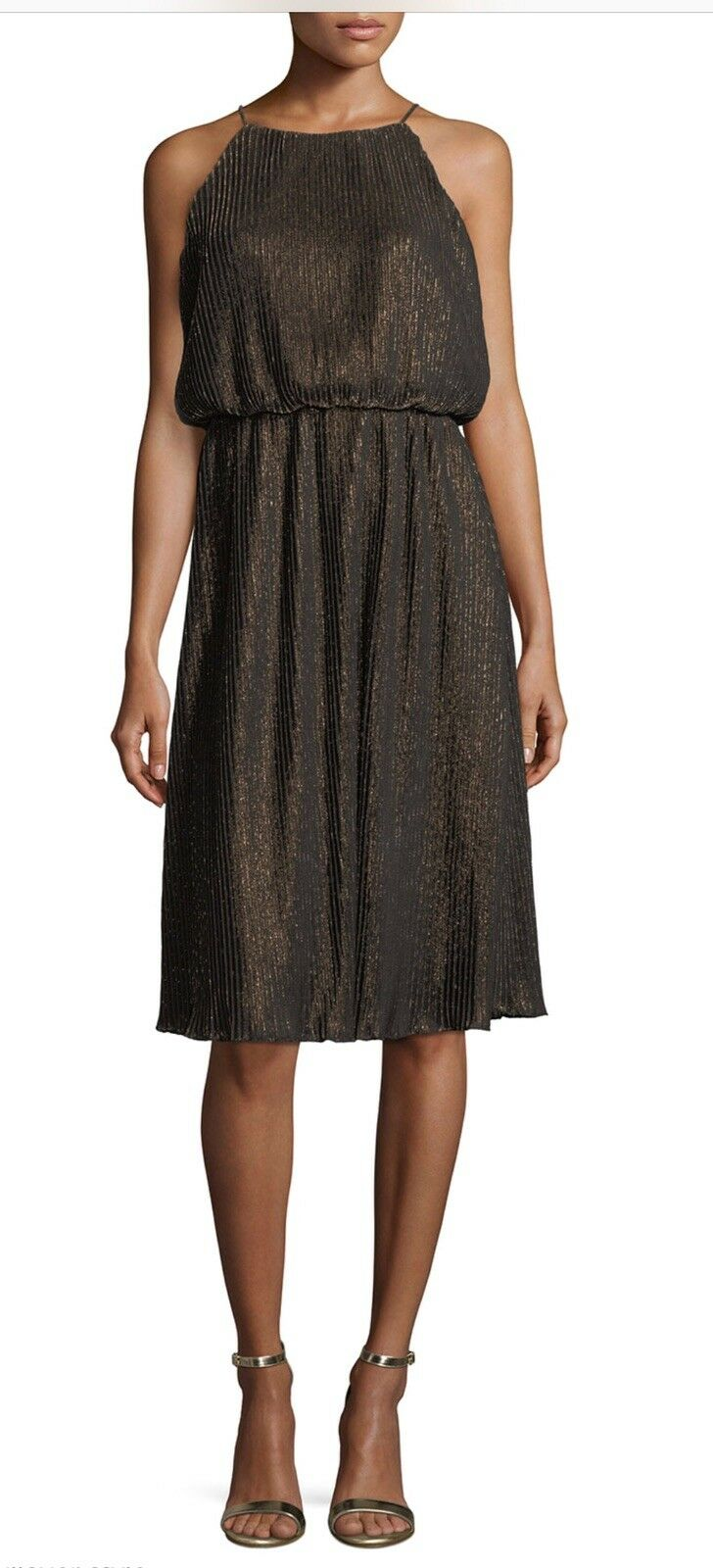 New Free People Julia Jordan Brown Metallic Pleated Dress, Size 12