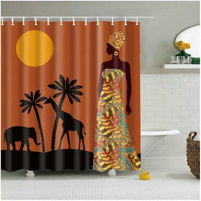 72 in Bathroom Shower Curtain Sunset African Girl Print ...