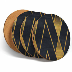 4-Set-Black-amp-Gold-Geometric-Coasters-Kitchen-Drinks-Coaster-Gift-12545