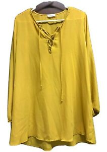 Adrienne Yellow Top Size Medium Long Sleeve Lace Up V Neck Tunic Semi Sheer