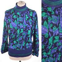 VINTAGE 1980's Floral High Collar Blouse/Shirt/Top S 8  Purple/Black/Green