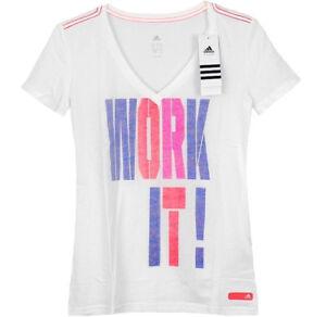 Adidas-Stronger-V-Shirt-Damen-Sport-Freizeit-T-Shirt-Fitness-Top-Kinder-weiss-NEU