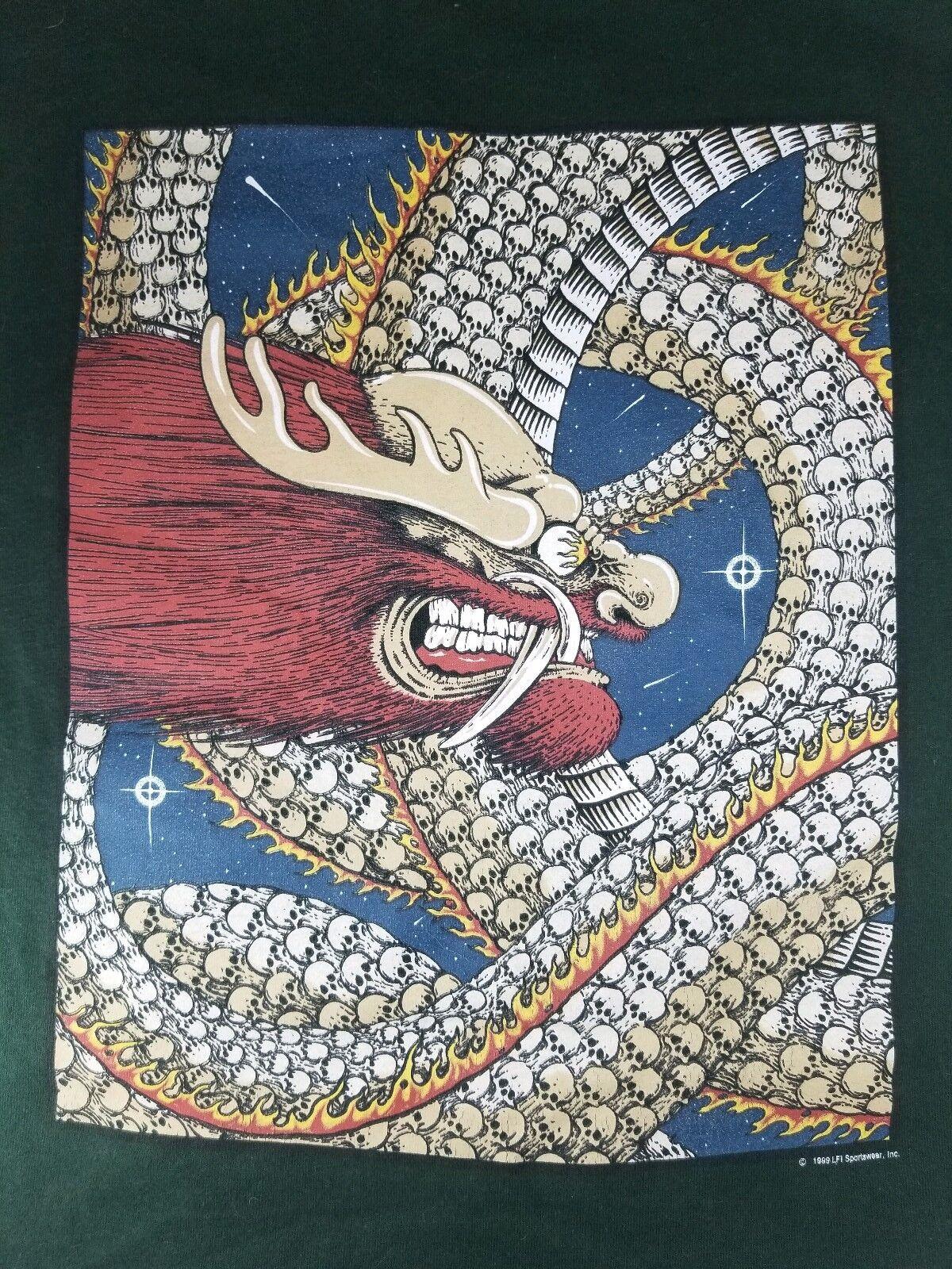 männer 5X Grün Themd Back Graphic Dragon Skull Flame Rock Punk Vtg 99' Cool Rare