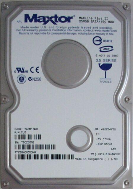 7200RPM 7Y250M0 SATA Maxtor 250GB