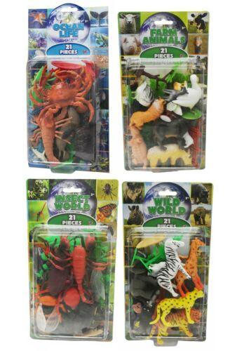 21Pcs Ferme Jungle Ocean mer animaux figures Kids Nature Science Model Toy Set