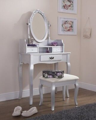 Vintage Style Silver Dressing Table, Vintage Style Vanity Table With Mirror