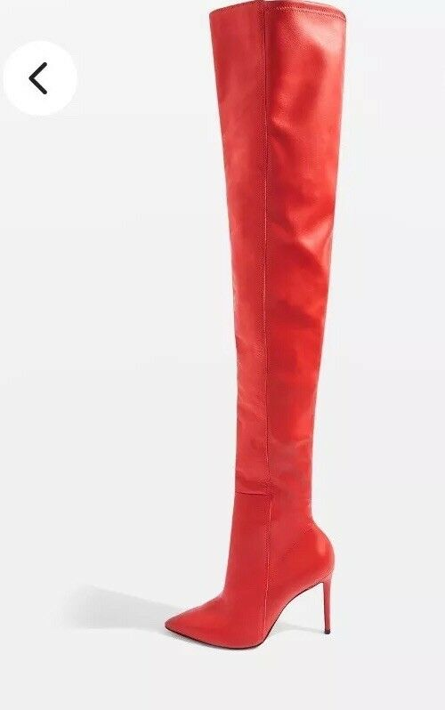 TOPSHOP RED HIGH LEG BOOTS SIZE 8