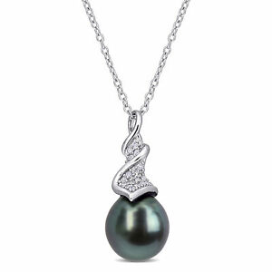 Amour Sterling Silver Tahitian Cultured Pearl and Diamond Crossover Drop Pendant
