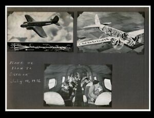 Trip to Oregon 1936 Scrapbook page United Airlines Three Postcards