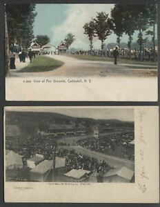 Cobleskill-NY-Two-c-1906-07-Postcards-FAIRGROUNDS-TRACK-AND-GRANDSTAND