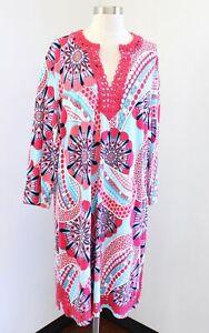 NWT Crown and Ivy Blue Pink Multi Geometric Print Lace Trim Tunic Shift Dress 3X