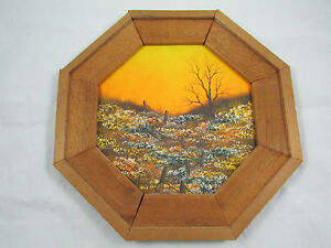 Original-Octagon-Framed-Oil-Painting-Field-with-Fence-Dusk-Signed-Dorothy-Hurt