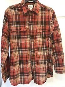 VTG-LL-BEAN-Men-M-Plaid-Flannel-Shirt-Button-L-S-Reg-Fit-Lumberjack-Red