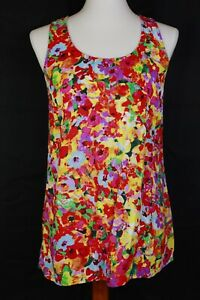 Cabi-5045-Luisa-Multicolored-Floral-Sleeveless-Tank-Top-Blouse-Size-Small