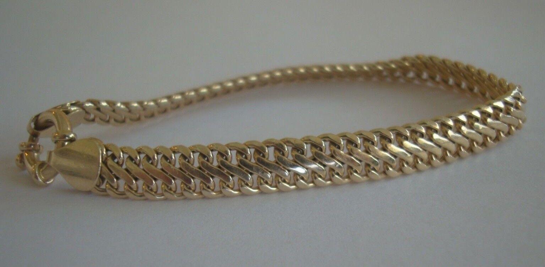 Signed  EG 14K   Fine 14K Yellow gold Chain Link Bracelet 7.5  Long 6.3G