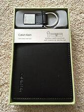 Mens Calvin Klein CK Leather Wallet Black + Keyring Gift Box Set New