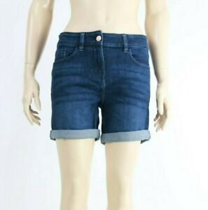 Next-Dark-Blue-Regular-Denim-Short-Cotton-Midi-Length-Twisted-Shorts-UK-6-to-22