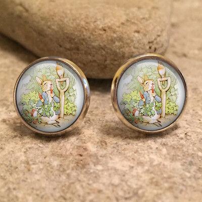 Beatrix Potter Peter Rabbit Glass 12mm Stud Earrings