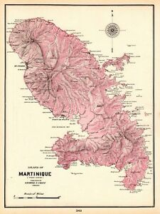 1905 Antique MARTINIQUE Map Caribbean Island Map Vintage 1900s Map on