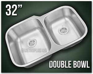 Double Bowl 32 Quot Undermount Kitchen Sink 304 Stainless