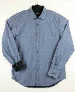Bugatchi-Mens-Size-Medium-Button-Up-Shirt-Flip-Cuffs-Blue-Shaped-Fit