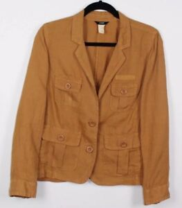 J-Crew-Women-039-s-100-Linen-Brown-Jacket-size-2-Front-pockets-Long-Sleeve
