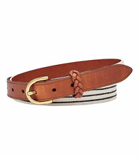 NEW! Fossil Women's Striped Leather Printed Belt Size Medium